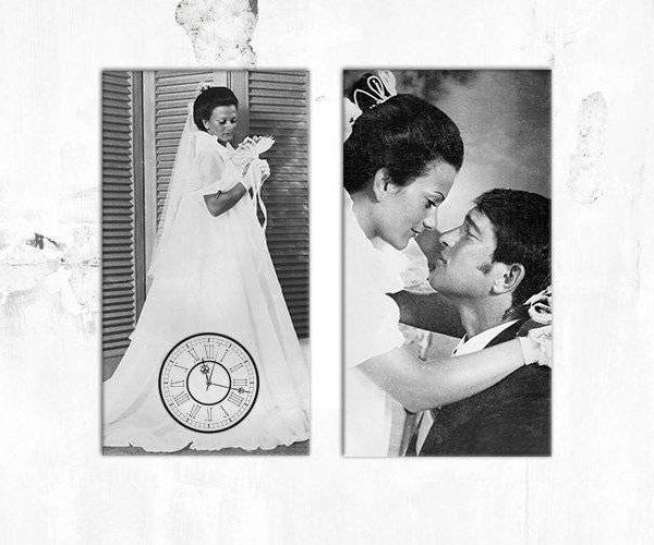 """זוג קאנבסים """"חתונה"""" עם תמונות חתונה ושעון"""