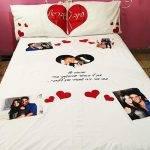 כלי מיטה עם תמונות והקדשות