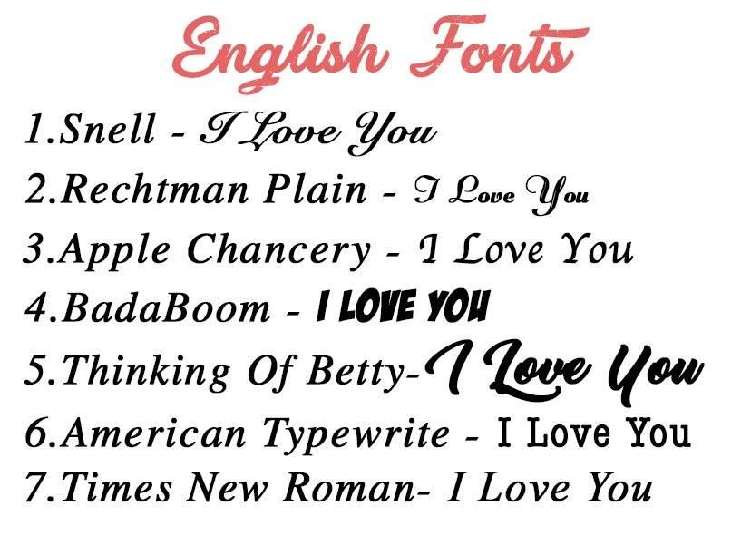 פונטים באנגלית
