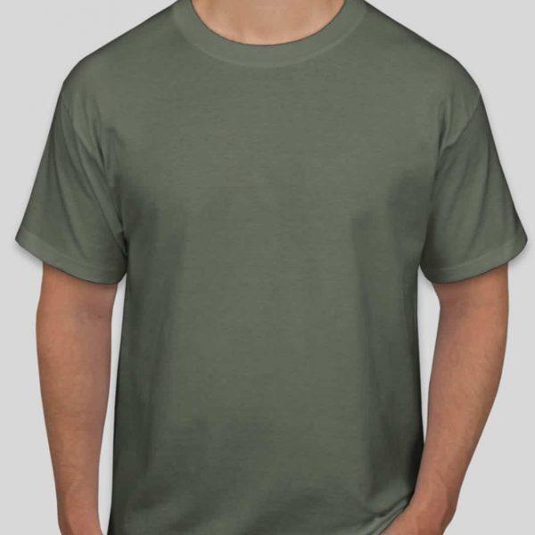 חולצת כותנה בצבע ירוק זית לגברים צווארון עגול שרוול קצר [ מותג – T-Wear ]