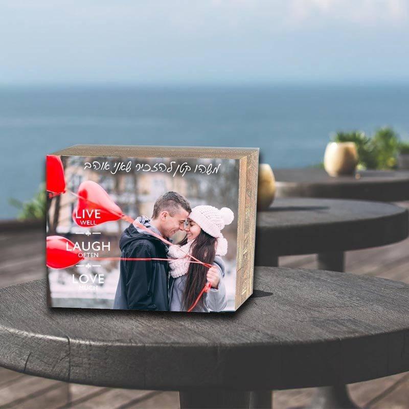 בלוק עץ עם תמונות