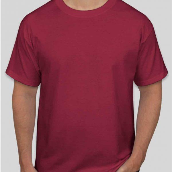 חולצת כותנה בצבע בורדו לגברים צווארון עגול שרוול קצר [ מותג – T-Wear ]