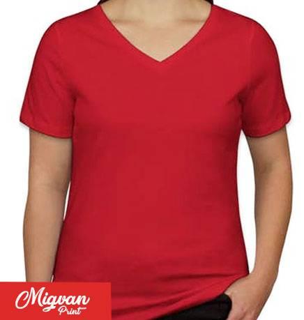 חולצת נשים צווארון וי אדומה