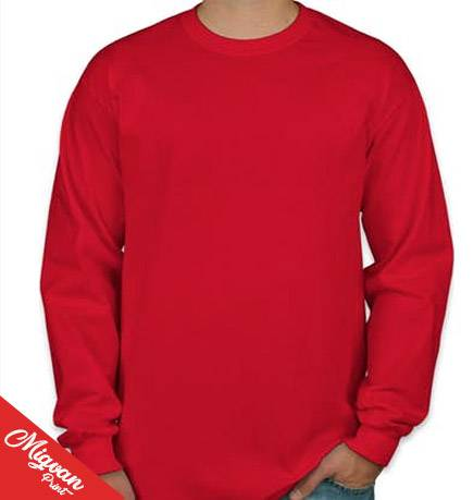 הדפסת חולצה שרוול ארוך אדומה