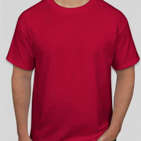 חולצת כותנה בצבע אדום לגברים צווארון עגול שרוול קצר [ מותג – T-Wear ]