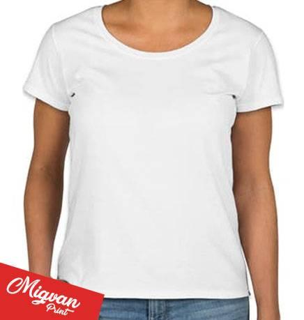 חולצת נשים לבנה צווארון עגול