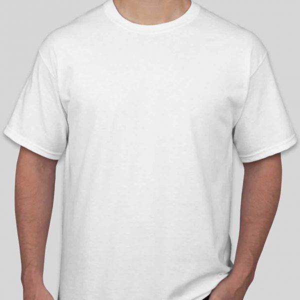 חולצת כותנה בצבע לבן לגברים צווארון עגול שרוול קצר [ מותג – T-Wear ]