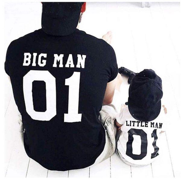 """סט לאבא ולתינוק עם הדפסה """"Big Man Little Man"""""""