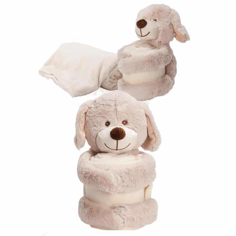כלב עם שמיכת כרבולית מודפסת