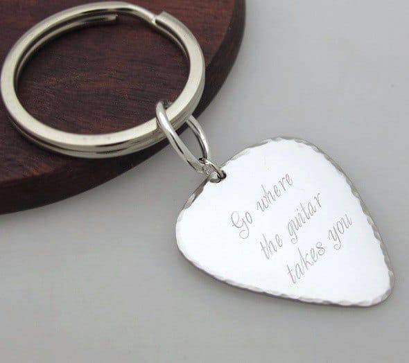 מחזיק מפתחות מפרט כסוף עם הקדשה
