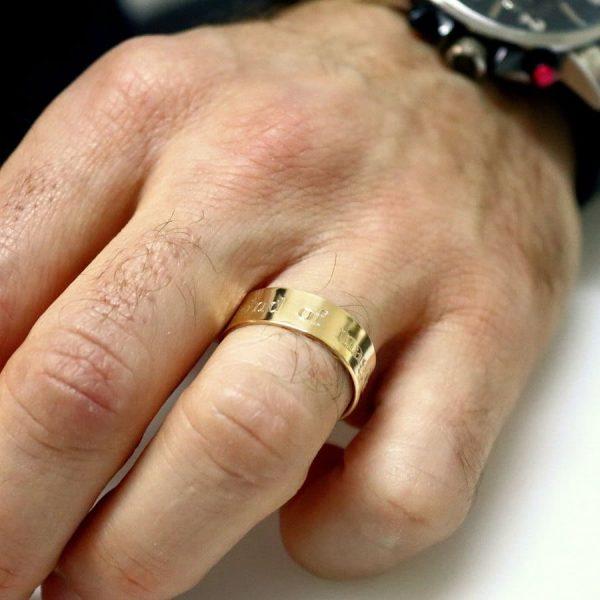 """טבעת זהב עם הקדשה דגם """"Exodus"""""""