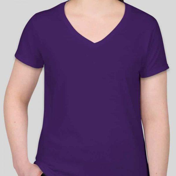 חולצת כותנה גזרת נשים צווארון וי צבע סגול [מותג – T-Wear]