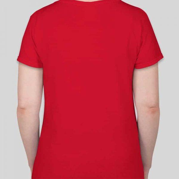חולצת כותנה גזרת נשים צווארון וי צבע אדום [מותג – T-Wear]