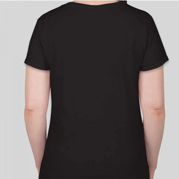 חולצת כותנה גזרת נשים צווארון וי צבע שחור [מותג – T-Wear]