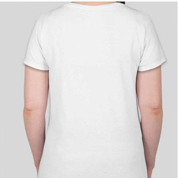 חולצת כותנה גזרת נשים צווארון וי צבע לבן [מותג – T-Wear]