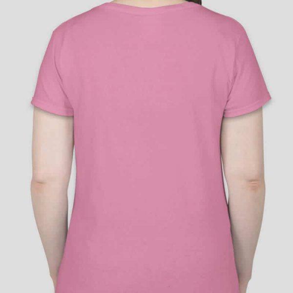 חולצת כותנה גזרת נשים צווארון וי צבע ורוד בייבי [מותג – T-Wear]