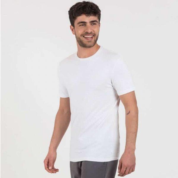 חולצת בייסיק גברים קצרה בצבע לבן [ מותג – Hanes ]