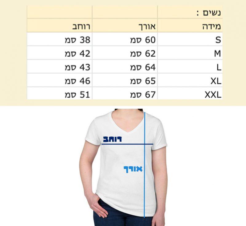 """מידות חולצה בס""""מ"""