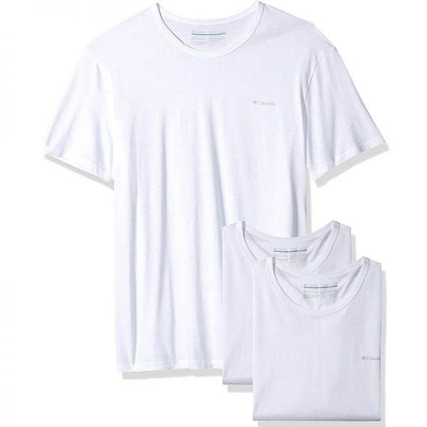 חולצת בייסיק גברים קצרה בצבע לבן [ מותג – Columbia ]