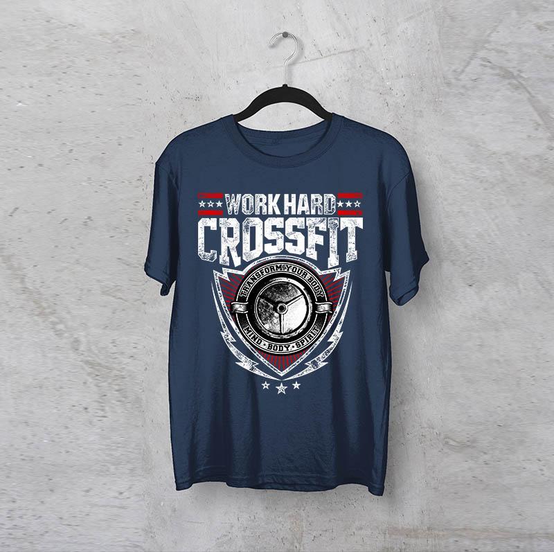 """חולצה מודפסת לגבר """"Crossfit"""""""