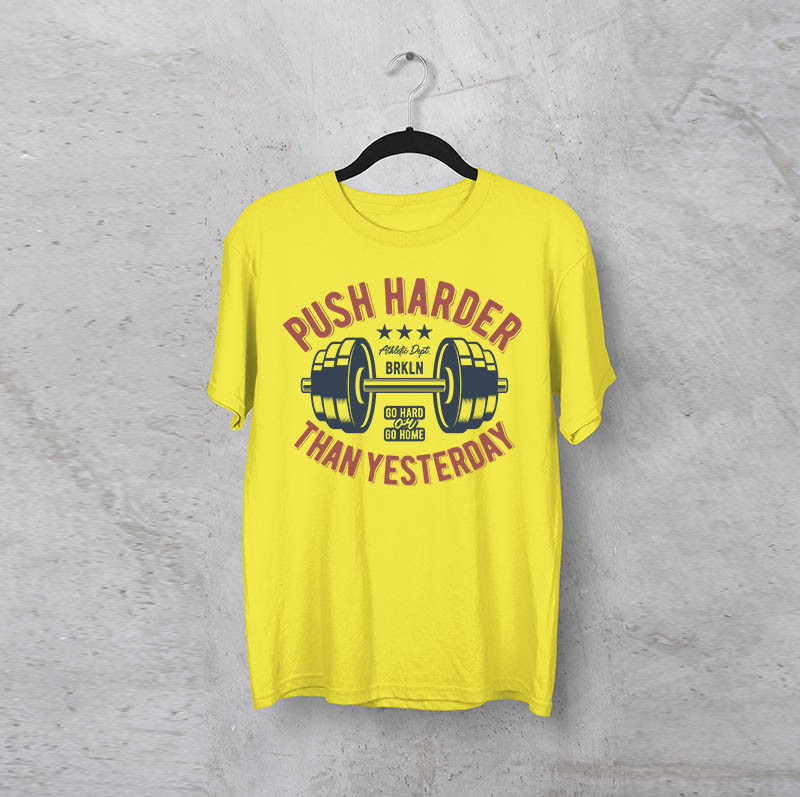 """חולצה מודפסת לגבר """"PushHarder"""""""