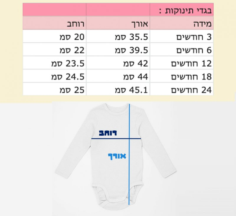 מידות בגדי תינוקות