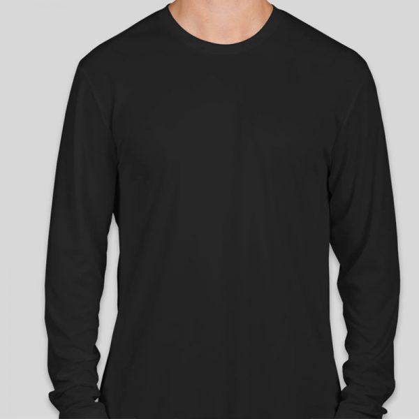 חולצת כותנה בצבע שחור לגברים צווארון עגול שרוול ארוך [ מותג T-Wear ]