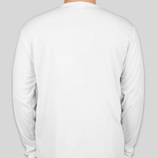 חולצת כותנה בצבע לבן לגברים צווארון עגול שרוול ארוך [ מותג – T-Wear ]