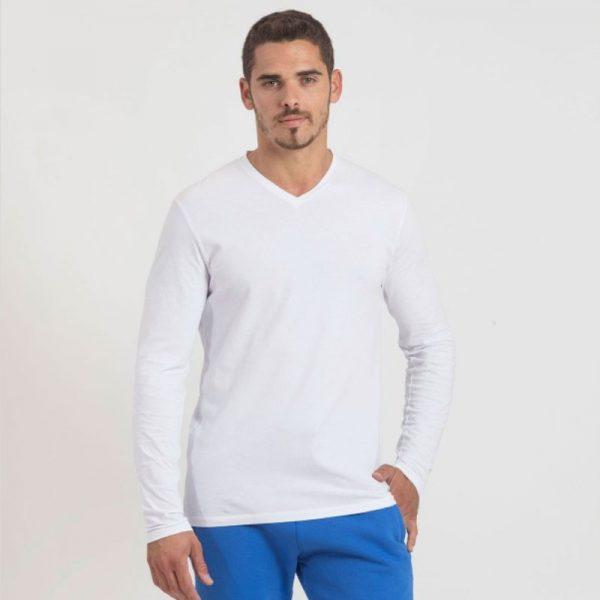 חולצת כותנה בצבע לבן לגברים צווארון וי שרוול ארוך [ מותג – Hanes ]