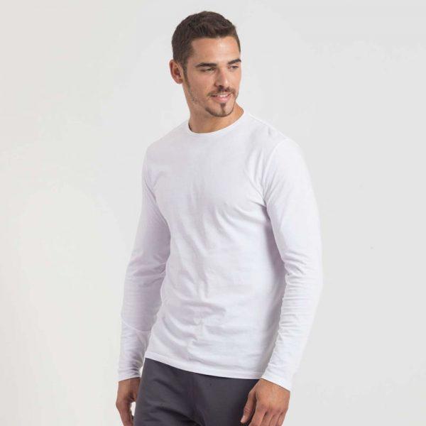 חולצת כותנה בצבע לבן לגברים צווארון עגול שרוול ארוך [ מותג – Hanes ]