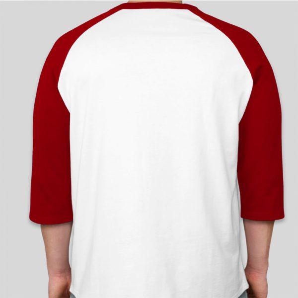 חולצה אמריקאית שרוול 3/4 לבן ובורדו  [ מותג Box ]